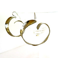 Oversize silver hoops, inside outside hoop earrings, artisan made gift under 40
