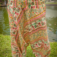 Thai Harem Pants in Cotton, Pastel Colors, Green w Red Tribal Design(S-XL) one size fits all