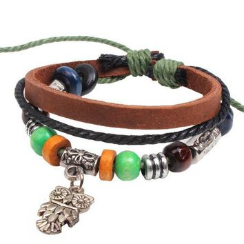 Hippy Fine Ethnic Tribal Hand-woven Hemp Pendant Leather Bracelet Wristband