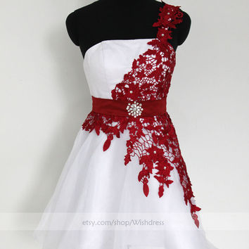 Handmade Burgundy Lace Single Strap Short Prom Dress/ Cocktail Dress/ Party Dress/ Homecoming Dress/ Short Formal Dress from wishdress
