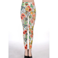 Women White Polyester Leggings