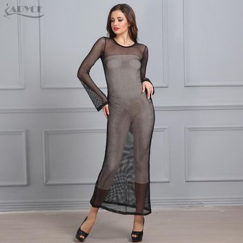 Adyce High Quality Women Autumn Evening Party Dress Black O Neck See Through Hollow Out Vestidos Celebrity Gown Maxi Dress