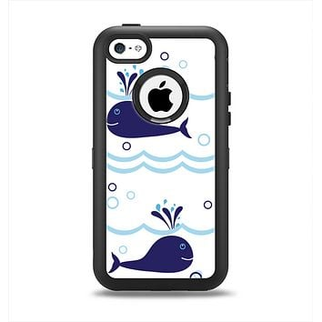 The Navy Blue Smiley Whales Apple iPhone 5c Otterbox Defender Case Skin Set