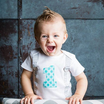 Boys 1st Birthday Bodysuit with Two Tone Aqua Polka Dot 1 and Gray and White Chevron Suspenders-Boys First Birthday Outfit-Cake Smash