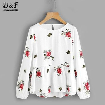 Flower Embroidered Smock Layered Top Ladies Round Neck Long Sleeve Button Shirt White Ruffle Autumn Blouse