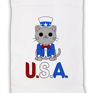 "Patriotic Cat - USA Micro Terry Sport Towel 11""x18 by TooLoud"