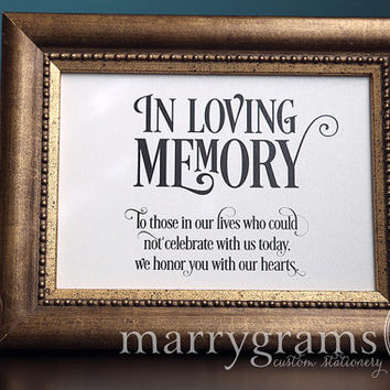 In Loving Memory Sign Table Card - Wedding Reception Seating Signage - Family Photo Table Sign - Matching Numbers Available - SS06