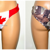 Canadian Flag and Camo Scrunch Bikini Bottom, Cheeky Hips Bikini Bottom, Brazilian Bikini Bottoms, Fully Lined Scrunch Butt Bikini Swimsuit