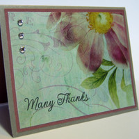 Many Thanks, Handmade Greeting Card,Purple and Copper, Thank You for Being so very Thoughtful