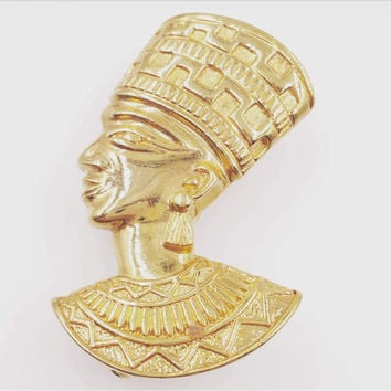 Egyptian Revival Nefertiti Brooch and Pendant Combo