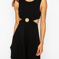 ASOS PETITE 90s Skater Dress with Metal Ring and Cut Out Sides