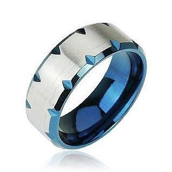 Blue Magma - Deep Blue Faceted Edges Shining Stainless Steel Modern Style Ring
