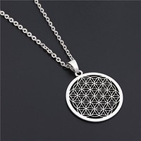 Flower of Life Buddhist Long Chain Necklace - Sacred Geometry Symbol