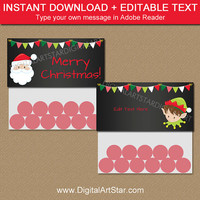 Printable CHRISTMAS Bag Toppers, Holiday Party Supplies, Christmas Chalkboard, Christmas Bag Lables, Santa Bag Toppers, Elf Bag Tags C2