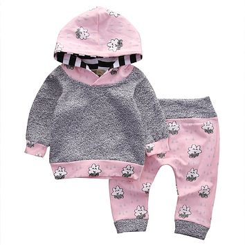 Pink Newborn Baby Girl Clothes Cute Smile Cloud Bebes Hooded Top Pant 2pcs Autumn Winter Suit Bebek Giyim Clothing Set