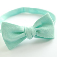 Mint Linen Self Tie Bow Tie - Pastel Wedding Bow Ties- Free style Bow tie- Pre tied adjustable -Boy's, Men's Bow tie- Son Father bowties