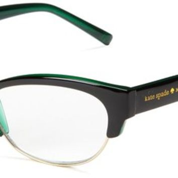 Kate Spade Women's Aleta Oval Reading Glasses,Black, Green 1.0,52 mm