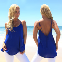Touchdown Blouse In Royal Blue