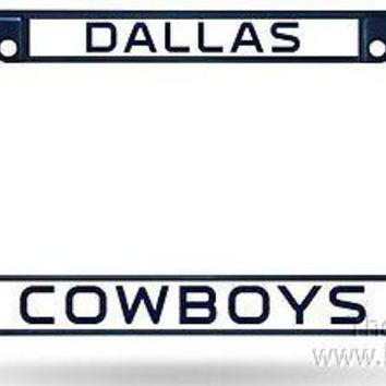 Dallas Cowboys CUSTOM BLUE Frame Metal Chrome License Plate Tag Cover Football