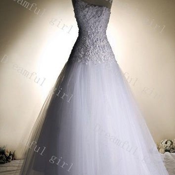 One shoulder tulle with appliques A-line lace up back High quality new fashion wedding dresses