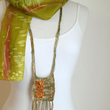 Long Boho Necklace - Handcrafted - Fringed - Fall Fashion Necklace - Woven