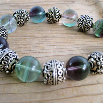 Sale Fluorite and African Silver Necklace Large Rainbow Fluorite Beads with Ornate Ethiopian Silver on Silver Chain Gemstone Jewelry