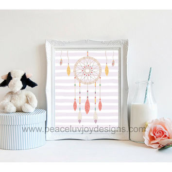 "Printable Art, ""Dream Catcher"", Tribal Art, 8x10, instant download, native american print, pastel, dream catcher, nursery"