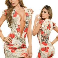 Sexy Cap Sleeve Floral Print Deep Plunging Neck Dress