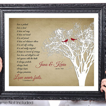 LOVE Never Fails, Gift for Husband, Gift for Wife, Corinthians, Birds, Personalized Couples Wedding Gift, 1st Anniversary, Tree