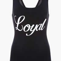 Black Loyal Print Sleeveless Bodysuit or Tank