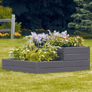 2-Tiered Square Raised Garden Bed Elevated Planter in Brown Resin
