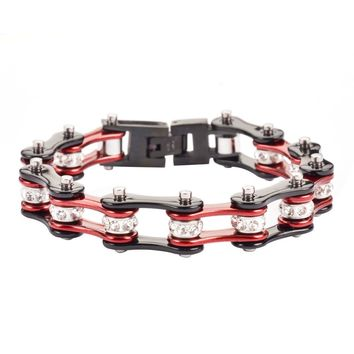 Burgundy and Black Stainless Steel Chain Bracelet with Rolling Crystals