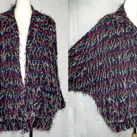 Vintage Mexi Fringed Slouchy Cocoon Batwing Tattered String Artsy Jacket XL by Vagabond Imports
