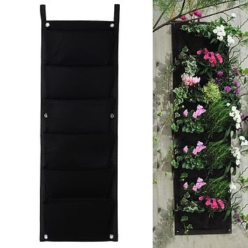 Black 6 Pockets Flower Pots Vertical Planter On Wall Hanging Felt Gardening Plants Green Field Grow Container Bags Indoor