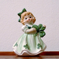 Lefton Irish Girl Figurine St. Patrick's  Shamrocks  Clovers March Birthday Vintage  JAPAN  Lefton #403