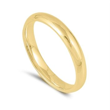 Ladies Yellow Gold 3mm Band Ring Size 2-12 over .925 Sterling Silver