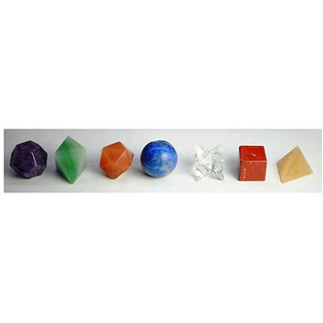 7 Chakra Crystal Platonic Solids Sacred Geometry Set ~ Beautiful Crystal Healing Set