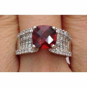 Luxinelle Cushion Shape Checkerboard Cut Red Garnet and Diamond Cocktail Statement Ring - 18K White Gold by Luxinelle®Jewelry
