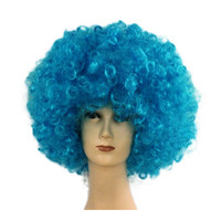 Fashion Afro Cosplay Curly Clown Party 70s Disco Cosplay Wig Cheering Squad Clown   skyblue