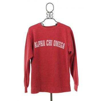 Alpha Chi Omega Comfort Colors Crewneck Sweatshirt in Crimson