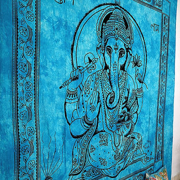 Indian Lord Ganesha Tapestry,Hippie Tapestry,Hippie Wall Hanging,Boho Blanket Coverlet Throw Indian Bedspread Bed Cover Queen Ethnic Decor