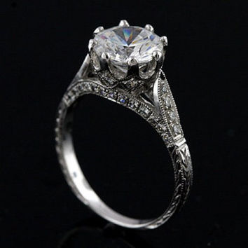 Edwardian style 18k white gold and diamond engraved semi mount engagement ring,setting only,for 8.3 mm round stone