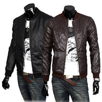Quilt Faux Leather Varsity Jacket