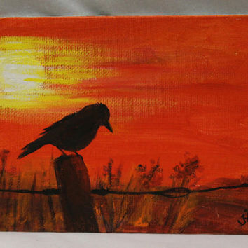 "Sunset silhouette, acrylic on 5"" x 7"" canvas board, original acrylic painting, bird painting,unframed office art, small wall art,"