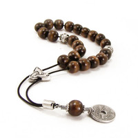 Greek Komboloi, Worry Beads, 21 Brown Wood Beads, Metal Master Bead & Greek Coin