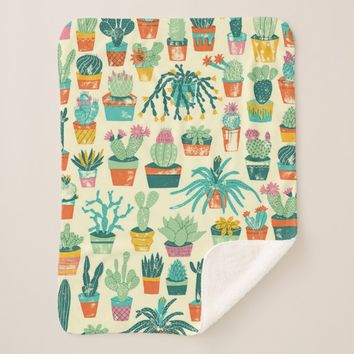 Colorful Cactus Flower Pattern Sherpa Blanket