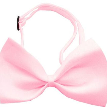 Plain Light Pink Bow Tie