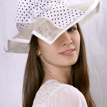 Asymmetric white wide brim Ascot Kentucky derby hat, Elegant Wedding Tea Party hat, Melbourne cup hat, Romantic bridal hat, White summer hat