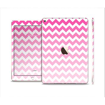 The Pink & White Ombre Chevron Pattern Skin Set for the Apple iPad Air 2