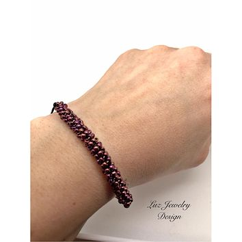Burgundy bracelet, wine bracelet, black leather bracelet, leather bracelet